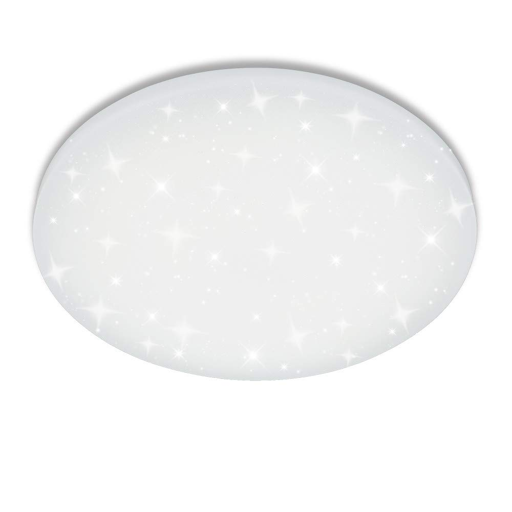 VINGO 16 W LED Ceiling Light Round Ceiling Light Star Light Effect Beautiful Living Room Living Room Lamp, White Plastic, 16 W Round White [Energy Class A++] V13393