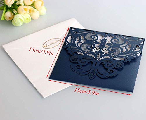 Laser Cut Wedding Invitation Card Custom Personalized Printing and Blank Page Envelope 5.9×5.9In 100Pcs by JXS-Wedding (Image #1)