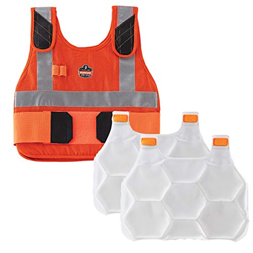 Cooling Vest with 2 Ice Packs, Flame Resistant, Flexible Design, Ergodyne Chill Its 6215 ()