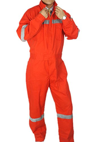 XinAndy Men's Orange High Visibility Work Coverall Reflective Night 100% Cotton (Orange Coverall Hooded)