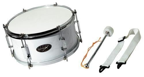 Marching Drum 12 x 7 inch white with beater and carrying strap by Basix