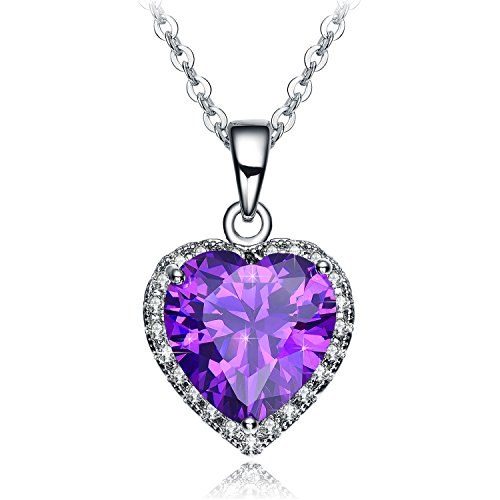 Valentines Day Gifts for Women NEEMODA Purple Heart Pendant Necklace Cubic Zirconia Fashion Jewelry Birthday Anniversary Valentines Day Gifts for Her White Gold Plated (Valentine Day Gifts For Her)
