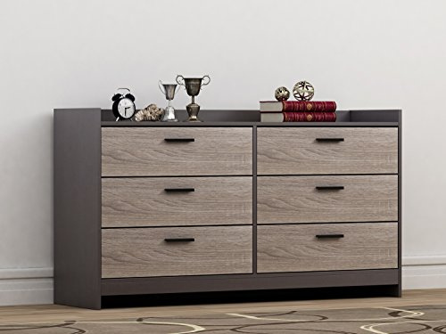 Homestar EB208752JS Central Park Chest, 6 drawer dresser, Java Brown and Sonoma - Contemporary 6 Drawer Chest