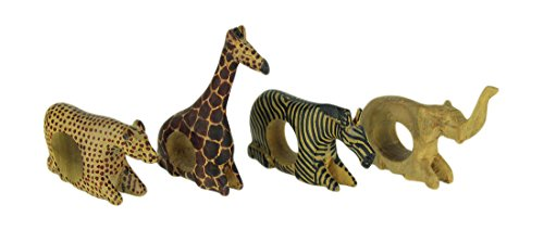 Wood Napkin Holders Set Of 4 Hand Carved African Wild Animal Napkin Rings 4.25 X 4.5 X 1 Inches Tan by Things2Die4