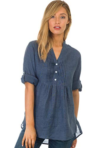 Pintuck Linen Shirt - CAMIXA Women's Linen Popover Casual Chic Tunic Shirt Relaxed Blouse Top Indigo