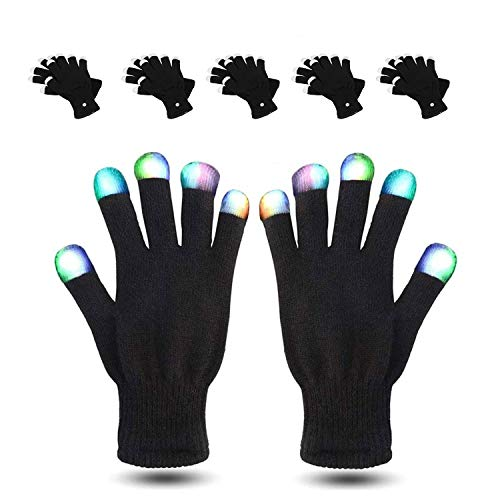 MUCH LED Gloves 5 Packs Party Light Show Gloves- 7 Light Flashing Modes. The Best Gloving & Lightshow Dancing Gloves for Christmas, Clubbing, Rave, Birthday, EDM, Disco, and Dubstep Party -