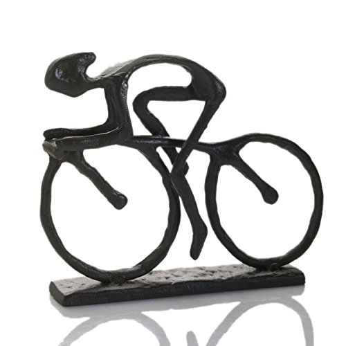 Cast Iron Rustic Racing Cyclist Sculpture Quay Traders