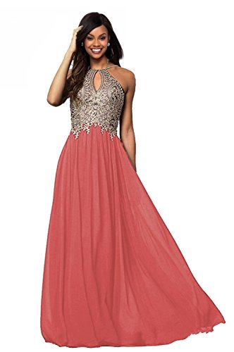 Lily Wedding Womens Halter Gold Applique Prom Bridesmaid Dresses 2019 Long Chiffon Evening Formal Gown Coral Size 16