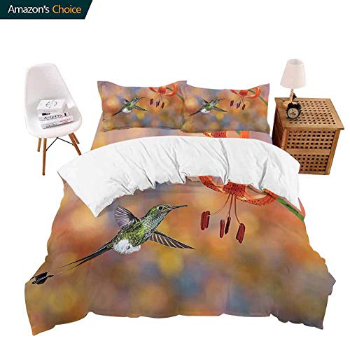 PRUNUSHOME Luxury Sheets Four-Piece Set The Booted Racket Tail Feeding Nectar from Tiger Lily Blur Background Photo Orange Comfy 4 Piece Set - King (Tiger Lily Dust Ruffle)