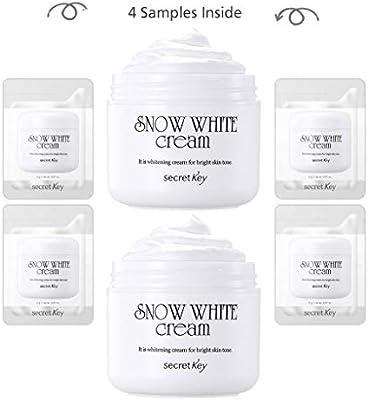 [SECRET KEY] Snow White Cream 1.76 fl. oz. 2pcs + 4 Mini Samples - All in One Brigtening Tone up Moisturizing Cream for Face and Body, Natural Skin Makeup, Maekup Base, Whitening Functional Cream