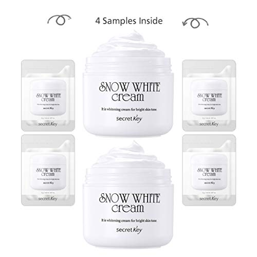 Natural Snow - [SECRET KEY] Snow White Cream 1.76 fl. oz. 2pcs + 4 Mini Samples - All in One Brigtening Tone up Moisturizing Cream for Face and Body, Natural Skin Makeup, Maekup Base, Whitening Functional Cream