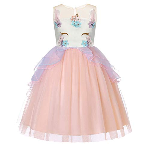 Princess Prom Style Gowns (Baby Girls Unicorn Dress Flower Princess Dress up Birthday Party Prom Sleeveless Tulle Gown for 2-3 Years(Pink))