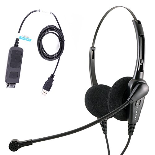 Economic Call Center USB Binaural PC headset with Plug N Play USB Headset for MS Lync, Skype, Cisco Jabber, Avaya One-x Agent by InnoTalk