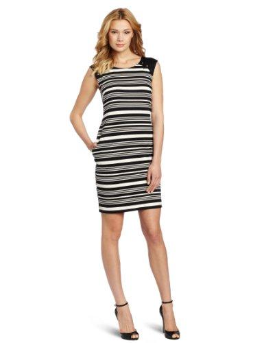 Julian Taylor Women's Striped Ponte Dress, Black/Ivory, 12