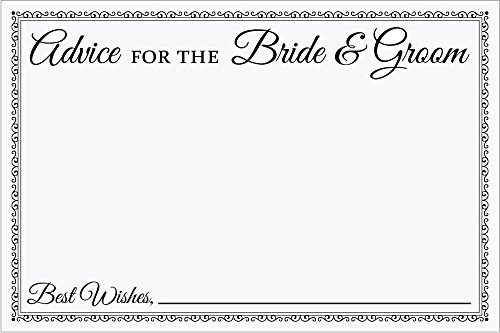 Jot & Mark Wedding Advice Cards for the Bride & Groom, Black & White, 4x6 Inches, Guest Book Replacement, Pack of 50 Cards