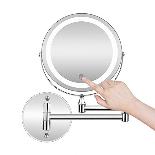 La Farah Shaving Mirror Wall Mounted,Double Sided 5X Magnifying Shaving Mirror LED -