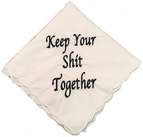 Keep Your Shit Together Wedding Handkerchief- Embroidered- By Wedding Tokens- Bridesmaid Gift (Wedding Tokens)