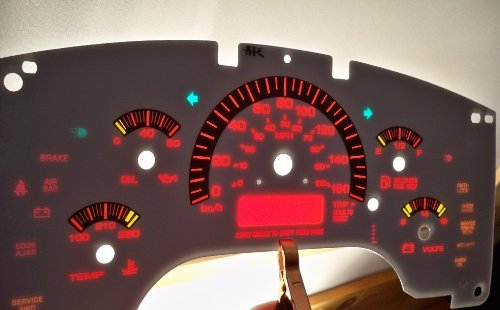 (96 97 98 99 00 01 02 03 04 Chevy GMC Astro Van Safari White Face Gauges Glow Through Dash Kit in KPH )