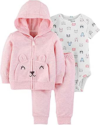 Carter's Baby Girls' Cardigan Sets (Pink Heather/Animals, Newborn)