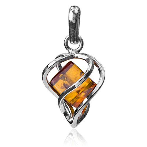 Honey Amber Heart (Honey Amber Sterling Silver Millennium Collection Large Heart Pendant)