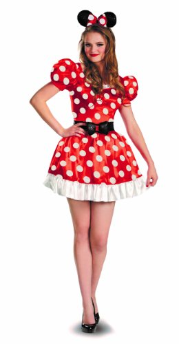 Disguise Women's Red Minnie Mouse Classic Costume, Red/Black/White, Large