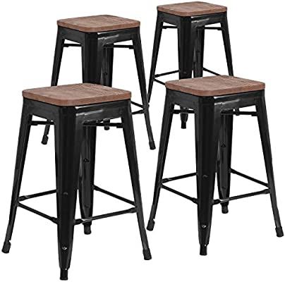 Terrific Taylor Logan 24 Inch High Backless Metal Counter Height Stool With Square Wood Seat Set Of 4 Black Machost Co Dining Chair Design Ideas Machostcouk