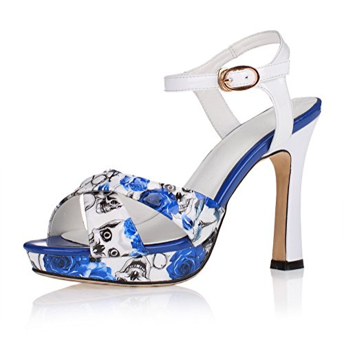 Allhqfashion Kvinna Öppen Tå Ko Läder Höga Klackar Blandade Färger Sandaler Med Utskrift Himmelsblå