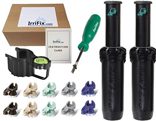 IrriFix Box Set - 2 Pack Rain Bird Falcon 6504PC Seal-A-Matic (SAM) Part Circle Sprinkler Head Kit - Including 5 Nozzles for Each 6504 Head, Leveling Hold Up Tool, Rotortool, and Instruction Card ()