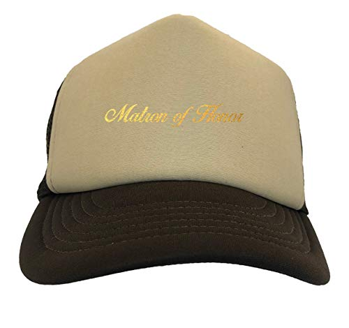 Gold Foil Matron of Honor - Bridal Two Tone Trucker Hat (Beige/Brown)