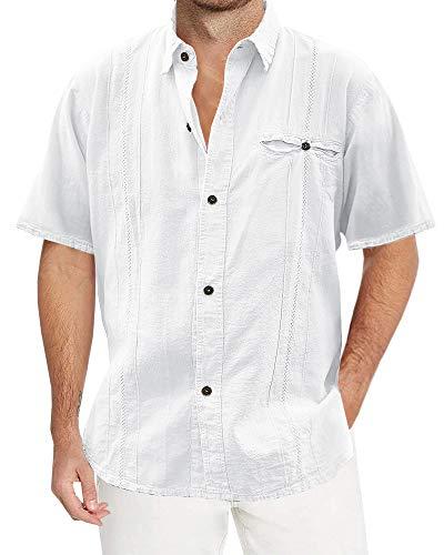 Pengfei Mens Linen Cotton Shirts Cuban Casual Button Down Short Sleeve Loose Fit Fishing ()