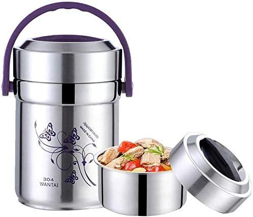 Kk キッズ大人の女性の男性のためのサーマルランチボックススタッカブルランチボックス、保冷食品容器、オックスフォード保冷ランチバッグ&折り畳み式のスプーンとBPAの無料&ステンレススチール304、 (Size : 1.8L)