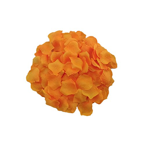 (MXXGMYJ 2000pcs Orange Rose Petals for Weddings Fake Silver Rose Petals Dried Rose Wedding Bouquet Artificial Flowers Wedding Party Decoration Table Confetti)
