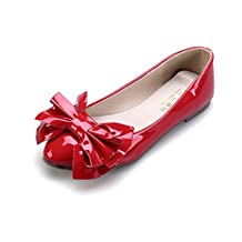 Fonshare Women's Patent Leather Big Bow Pregnant Loafer Comfort Low heel Ankle Flats