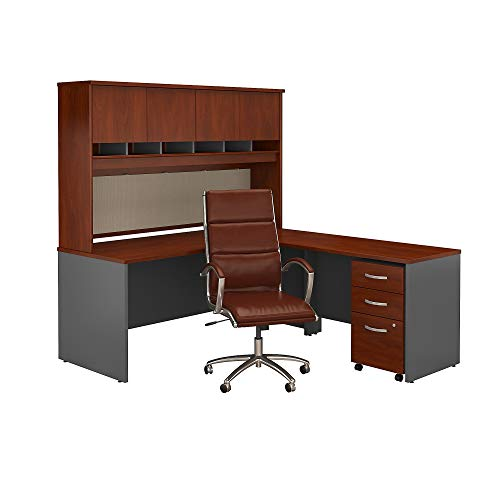 - Bush Business Furniture Series C L Shaped Desk with Hutch, Mobile File Cabinet and High Back Office Chair in Hansen Cherry