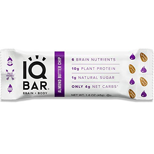 IQ BAR Brain Food Bar, Keto, Paleo, Vegan, Gluten Free, Low Carb (Almond Butter Chip, 12 Count) ()