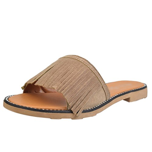 Bout Sandales Slipper Plage Dérapant Anti Bohême Été Plates Femme de 1 Chaussures Elégante Ouvert Gland Abricot Sentaoa Confortable CqvxStnC1