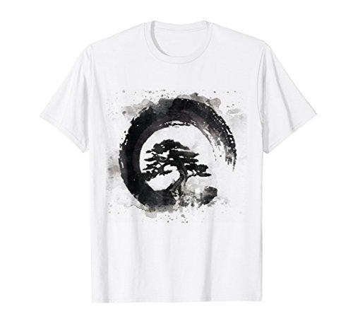 Water Color Bonsai Tree Enso Circle Calligraphy T-Shirts by Water Color Bonsai Tree Enso Circle Shirts