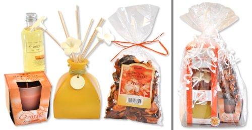 handverpacktes Weihnachtsgeschenke Set Raumdufttrio Orange inklusive Duftöldiffusor Duftkerze und Fruchtpotpourrie