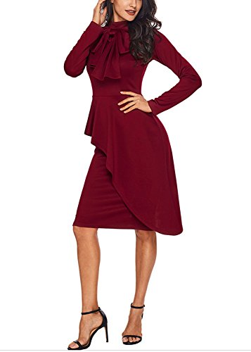 Womens Business Dress Tie Neck Long Sleeve Peplum Pencil Formal Bodycon Dress Wine M ()