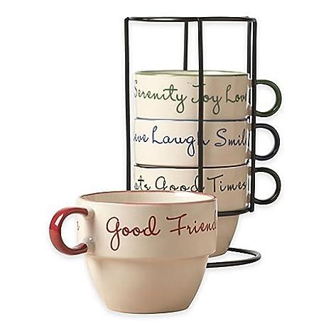 Amazon.com: Tabletops Gallery Sentiment 5-Piece Stacking Mug Set ...