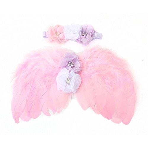 Pink Wings Chiffon Angel (Baby Feather Angel Wings Rhinestone Headband Set Babys Chiffon Flower Headband Hair Accessories)