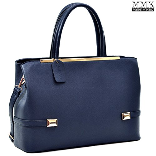 Leather Kelly Purse Handbag (MMK Collection Women Solid Color Large Size PU Leather Simple Concise Business Style(8895N) with Gold Tone Framed Tote Bag Top Handle Bag Handbag with Shoulder Strap (Navy))