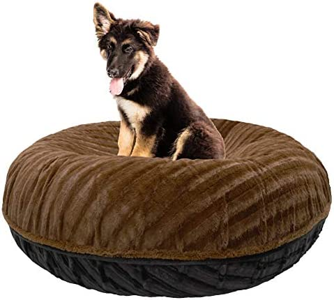 BESSIE AND BARNIE Signature Black Puma Godiva Brown Extra Plush Faux Fur Bagel Pet Dog Bed Multiple Sizes