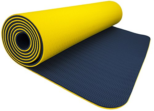 Wacces TPE Exercise Fitness Yoga Gym Training Premium Mat Dual Reversible Non-Slip, Yellow/Navy Blue, 6mm, 24  yoga mat yellow 41TH4rt4F3L