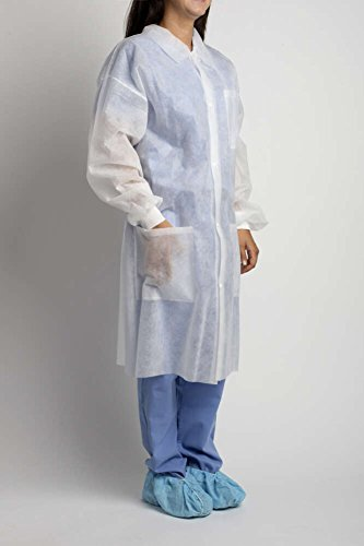 MediChoice Laboratory Coats, Standard, Disposable, Three-Pocket, 5 Snap-Front, Non Woven, Sturdy Polypropylene, XL, White (Case of 25) by MediChoice (Image #2)