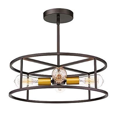 Jazava 18 inches Semi Flush Mount Ceiling Light, 4-Light Hanging Pendant Lighting, Cylinder Geometric, Oil Rubbed Bronze and Brass Finish