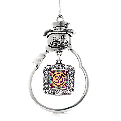 Inspired Silver - Mandala Ohm Charm Ornament - Silver Square Charm Snowman Ornament with Cubic Zirconia Jewelry