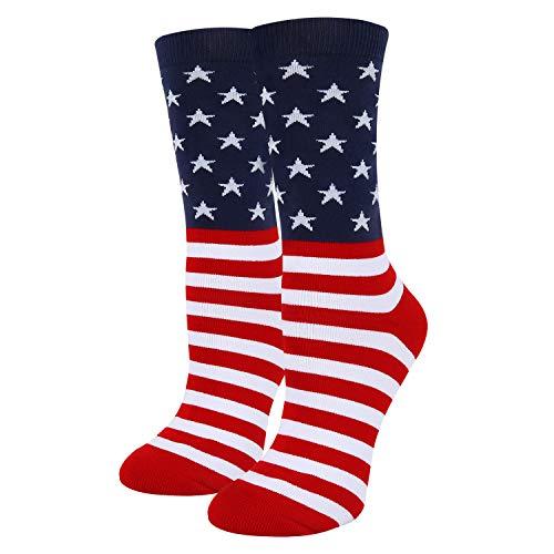 (Women Girls Novelty Funny America Crew Socks Crazy USA Flag Striped Cotton)