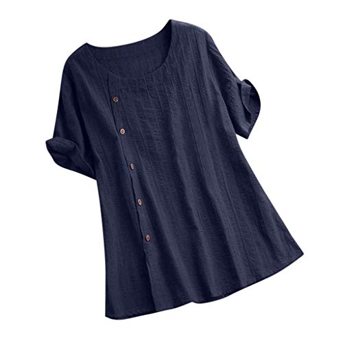 WILLBE Women's Loose T-Shirt Casual Cotton Tops Solid Color Round Neck Short-Sleeved Shirt Womens Short Sleeve T Shirt Navy