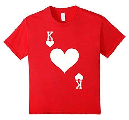 King Of Hearts Costume Kids (Kids King of Hearts Card Halloween Costume T-Shirt (White) 10 Red)